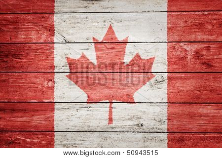 canadian flag on wood texture background