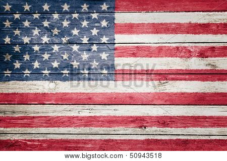 united states flag on wood texture background