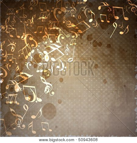 Shiny musical notes on vintage background, can be use as flyer, poster, banner or background for musical parties and concert.