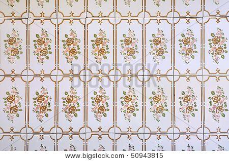 Vintage Tiles With Floral Pattern