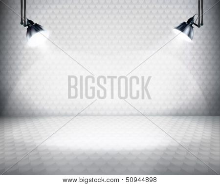 Illuminated space for exposition. Vector illustration.