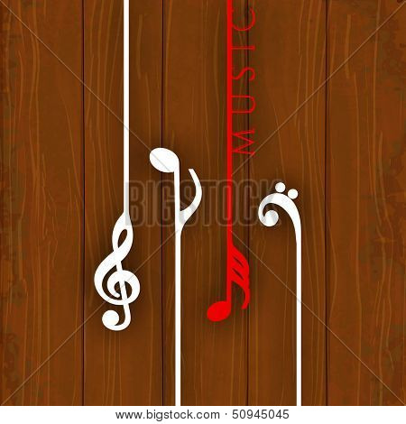 Hanging colorful musical notes on wooden background,  can be use as poster, banner for flyer for music concerts and parties.