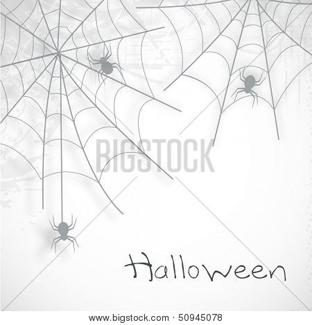Happy Halloween poster, banner or flyer with spider web on grey background.