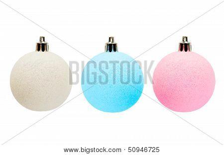 Three Multicolor Christmas Balls