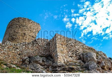 A ruined stone castle