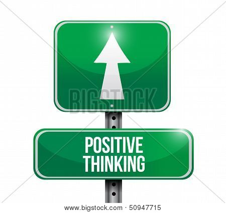 Positive Thinking Road Sign Illustration Design