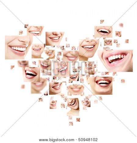 Heart collage of perfect smiles. Set of beautiful wide human smiles with great healthy white teeth. Isolated over white background