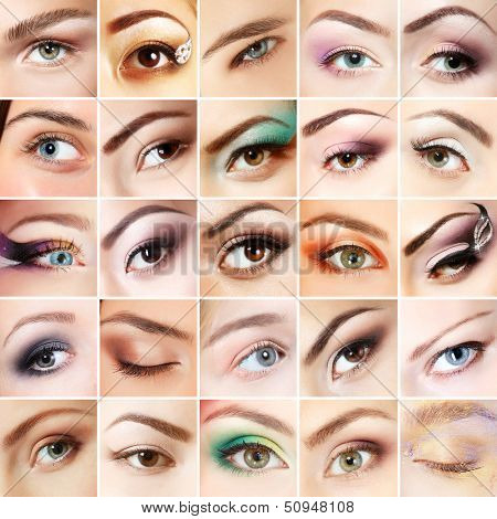 Eyes set. Collage of beautiful female eyes with makeup. Isolated over white background