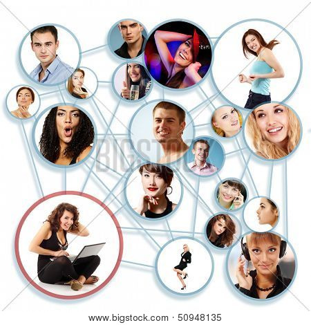 Happy young woman with her social network friends and business partners in a circle diagram, over white