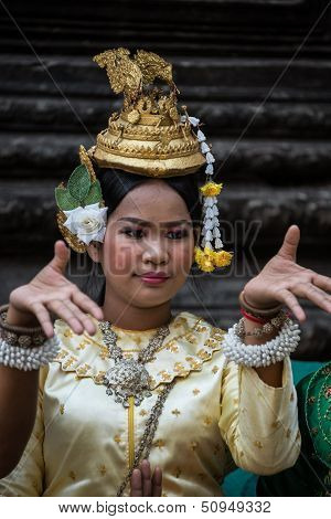 Siem Reap, Cambodia - February 27: Unidentified Traditional Khmer Cambodian Dancer Perform Ramayana