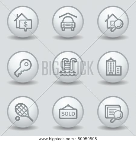 Real estate web icons, circle white matt buttons