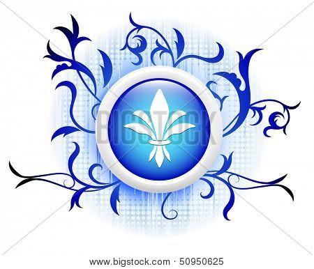 fleurdelis icon on blue decorative button