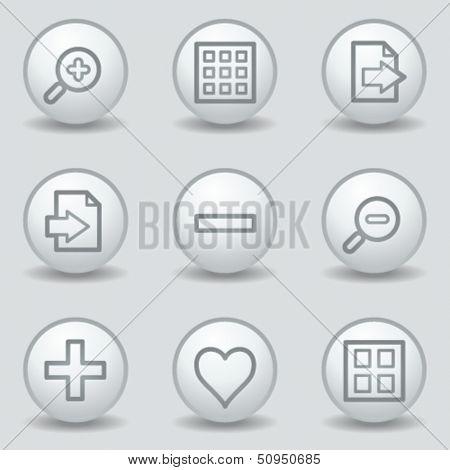 Image viewer web icons set 1, circle white matt buttons