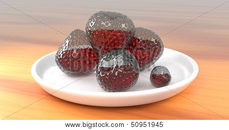 Glass Strawberries With Juice Inside Them