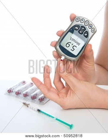 Measuring Glucose Level Blood Test With Glucometer  From Finger