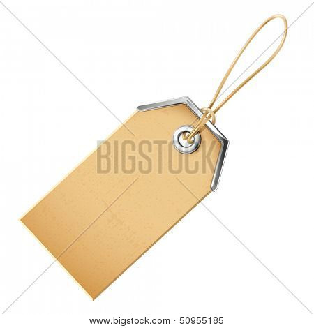 Label with a metal grommet. Vector illustration isolated on white background