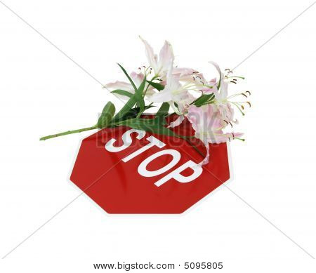 Stop Sign And Lilies
