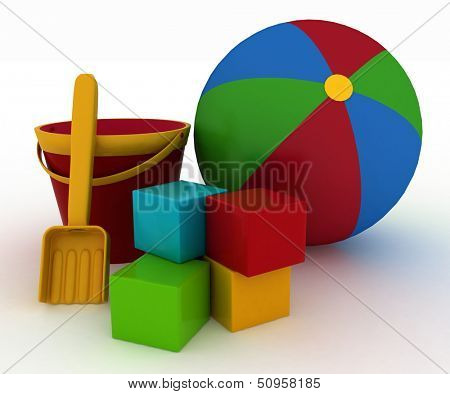3d render illustration of child's toys. Ball, blocks, bucket with a shoulder-blade.