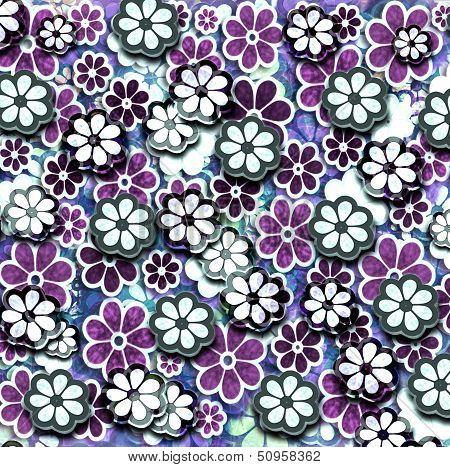 Lavendar Grunge Graphic Flower Pattern