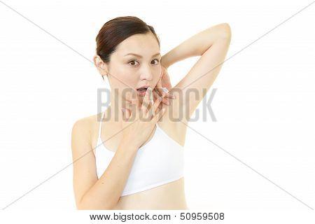 Woman uneasy look.