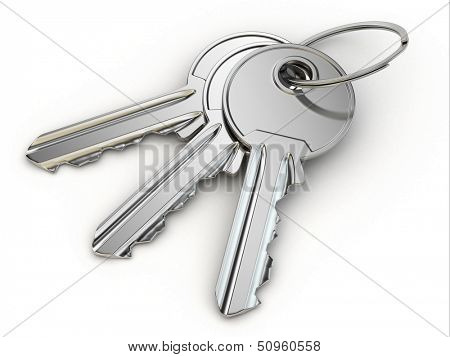 Bunch of keys on white isolated background. 3d