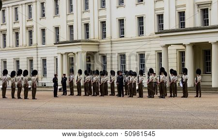 Horse Guards in London waiting to be inspected