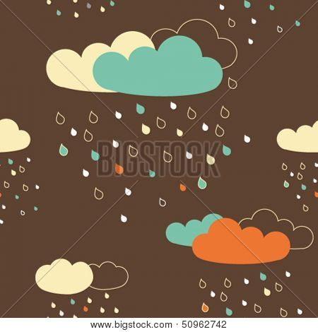 Vector seamless pattern with colorful rainy clouds