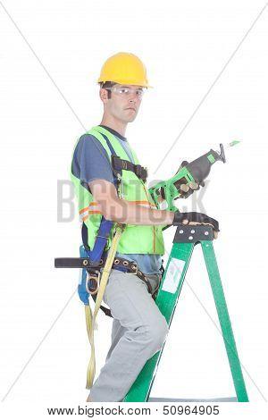 Closeup Of Construction Work On Ladder