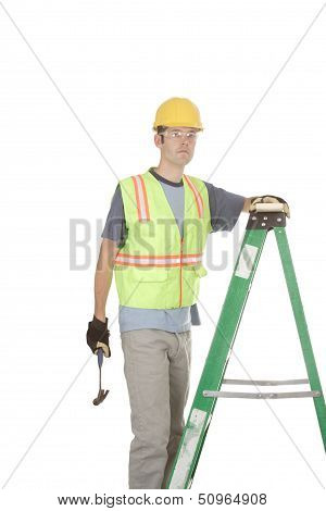 Construction Worker On Ladder With Hammer