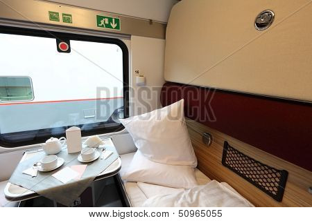 Interior of a coupe in a passenger train car