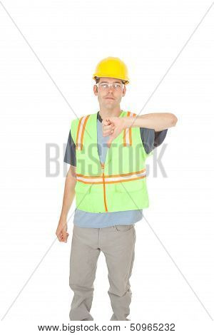 Construction Worker Gives Thumbs Down Sign