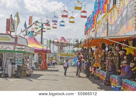 Carnival Rides And Games At The Fair