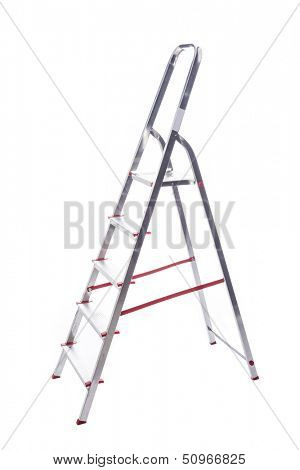 Aluminum ladder isolated on white background