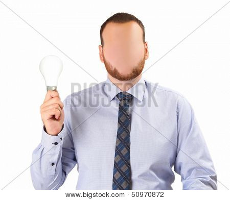 faceless man with lamp on white background