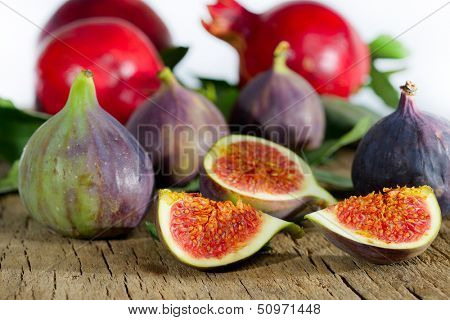 fresh figs and pomegranate