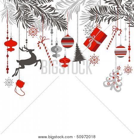 Christmas background in grey, red, white and black colors. Christmas tree branches and ornaments hanging down elegantly