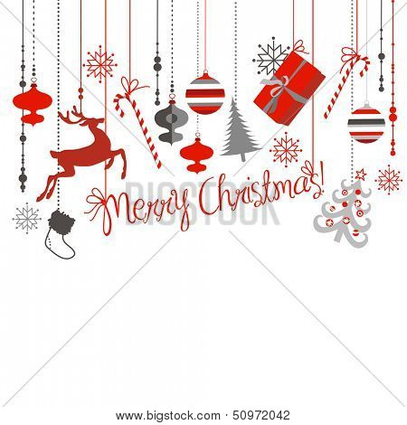 Christmas background in grey, red, white and black colors.