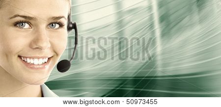 Beautiful  business woman with headset. Call center. Customer support. Helpdesk. .