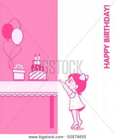 Little girl birthday card with cake, present and balloons
