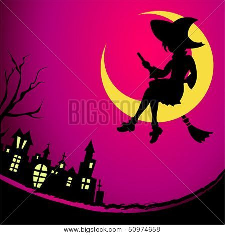 Fancy witch sitting on the Moon at Halloween night