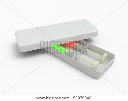 Two syringe in box, 3D