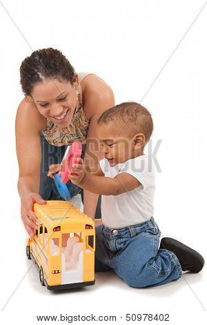 African American Mother Play with Baby Boy on Isolated White Background