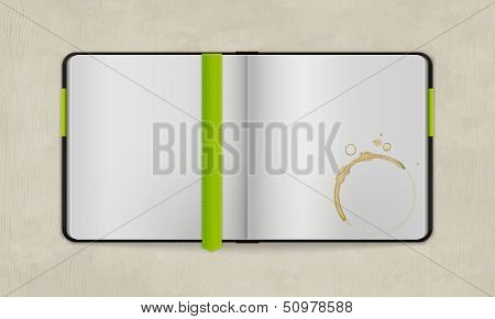 Open Diary with Blank Pages and Coffee Stain | Vector Mock Up  | Organized Layers