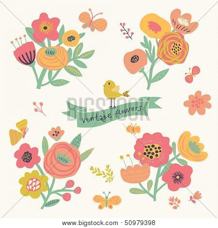 Bright floral elements in vector. Cute vintage set with birds and butterflies. Stylish flowers for modern designs