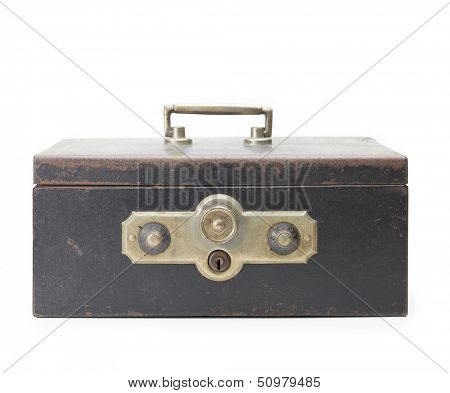 Vintage cash box or safe box, isolated on white. Old and rusted metal cash box with two combination dial locks.