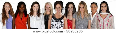 Women of all different races together on a white background