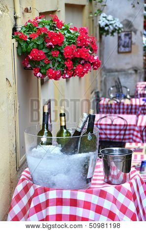Wine on the table of a restaurant in Verona, Italy