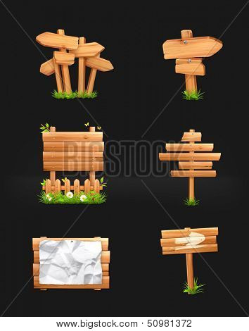 Wooden signs set, vector on black