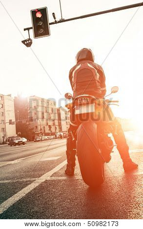 motorcyclist on the road with