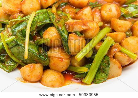 Fried Fish Meat Ball And  Chinese Kale In Chilli Sauce